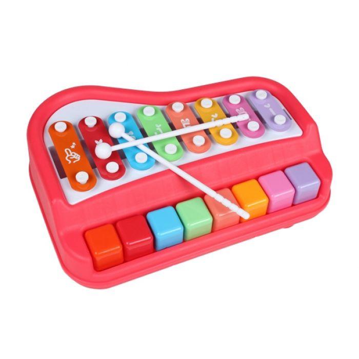 Ксилофон пианино Baoli 8 тонов с карточками (красный)