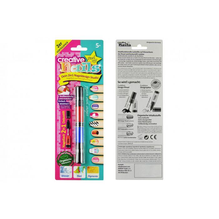 Лак-карандаш для ногтей детский Creative Nails на водной основе (2 цвета малиновый + синий)