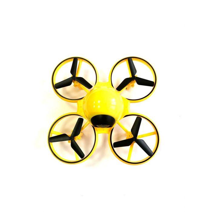 Квадрокоптер Dowellin D10, протиударний корпус, до 11 хв., перевороти на 360°, яскрава підсвітка (жовтий)