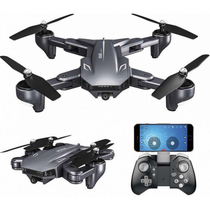 Квадрокоптер Visuo XS816 з двома камерами 4K і HD, FPV - прямою трансляцією відео, оптичним утриманням позиції, до 20 хв. польоту (Сірий)