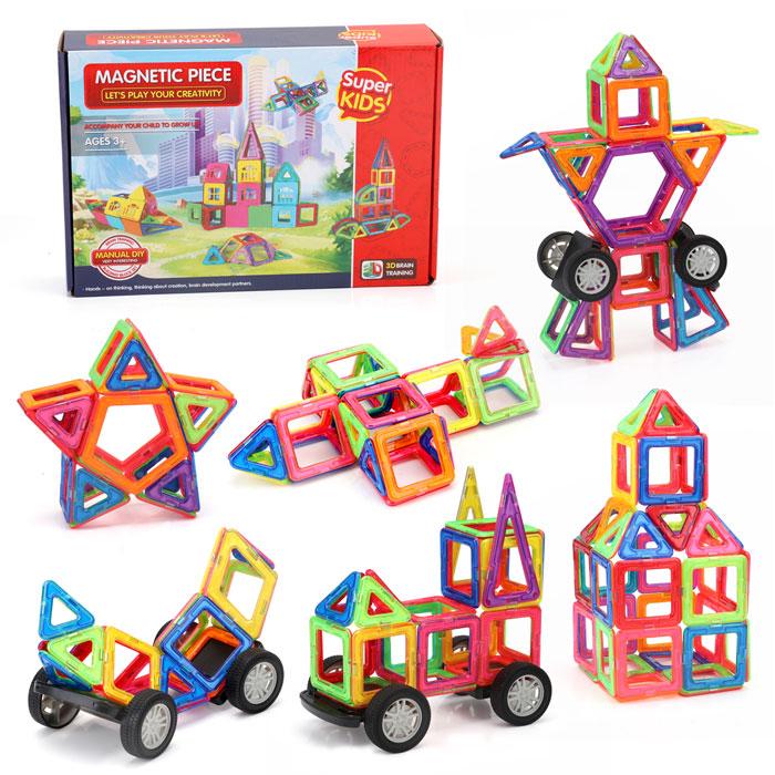 Гіпер великий магнітний конструктор для дітей, Magnetic Blocks, 132 деталей. Найкраща ціна!