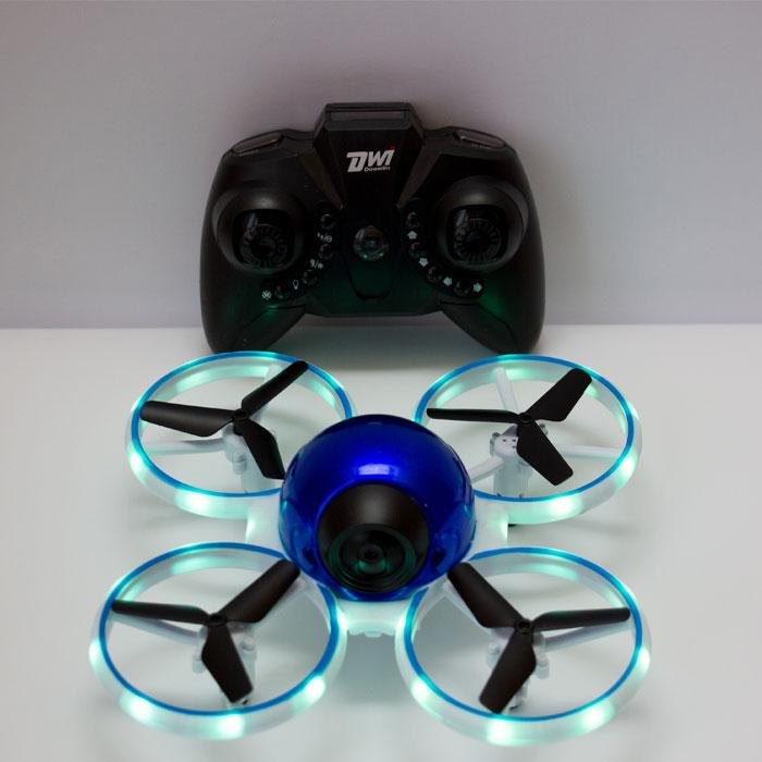 Квадрокоптер Dowellin D10 W, з HD FPV камерою, протиударний, до 11 хв. польоту, яскрава підсвітка (синій металік)