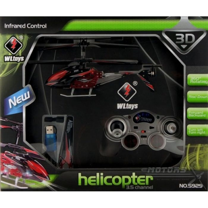 Вертолёт 3-к микро и/к WL Toys S929 с автопилотом (красный)