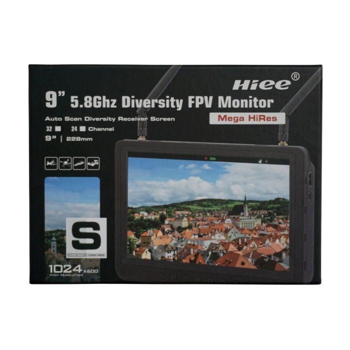 "Дисплей HD FPV 9"" HIEE HDRM908 1024x600 два приёмника 5.8GHz 32к + адаптер"