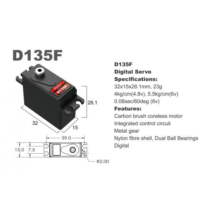 Сервопривод мини 30г LC Racing BATAN D135F 4.0кг/0.1сек цифровой
