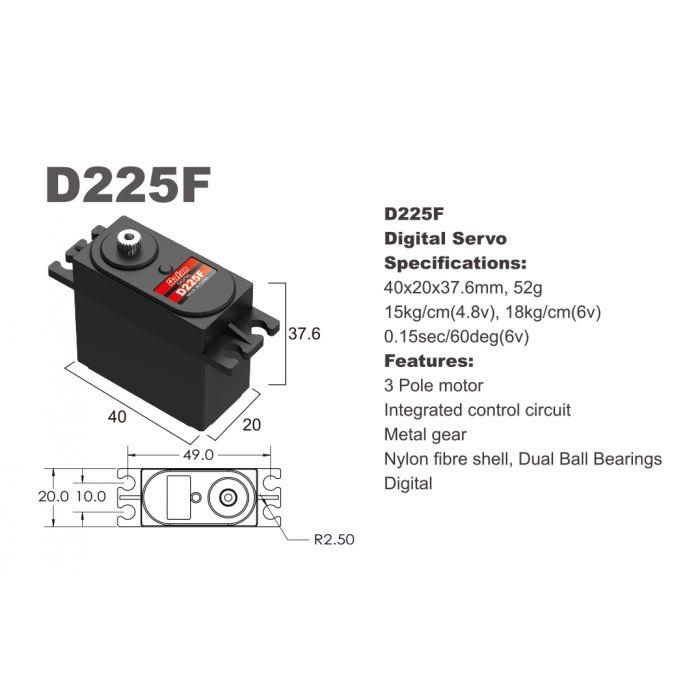 Сервопривод стандарт 52г BATAN D225F 18.0кг/0.15сек металл цифровой